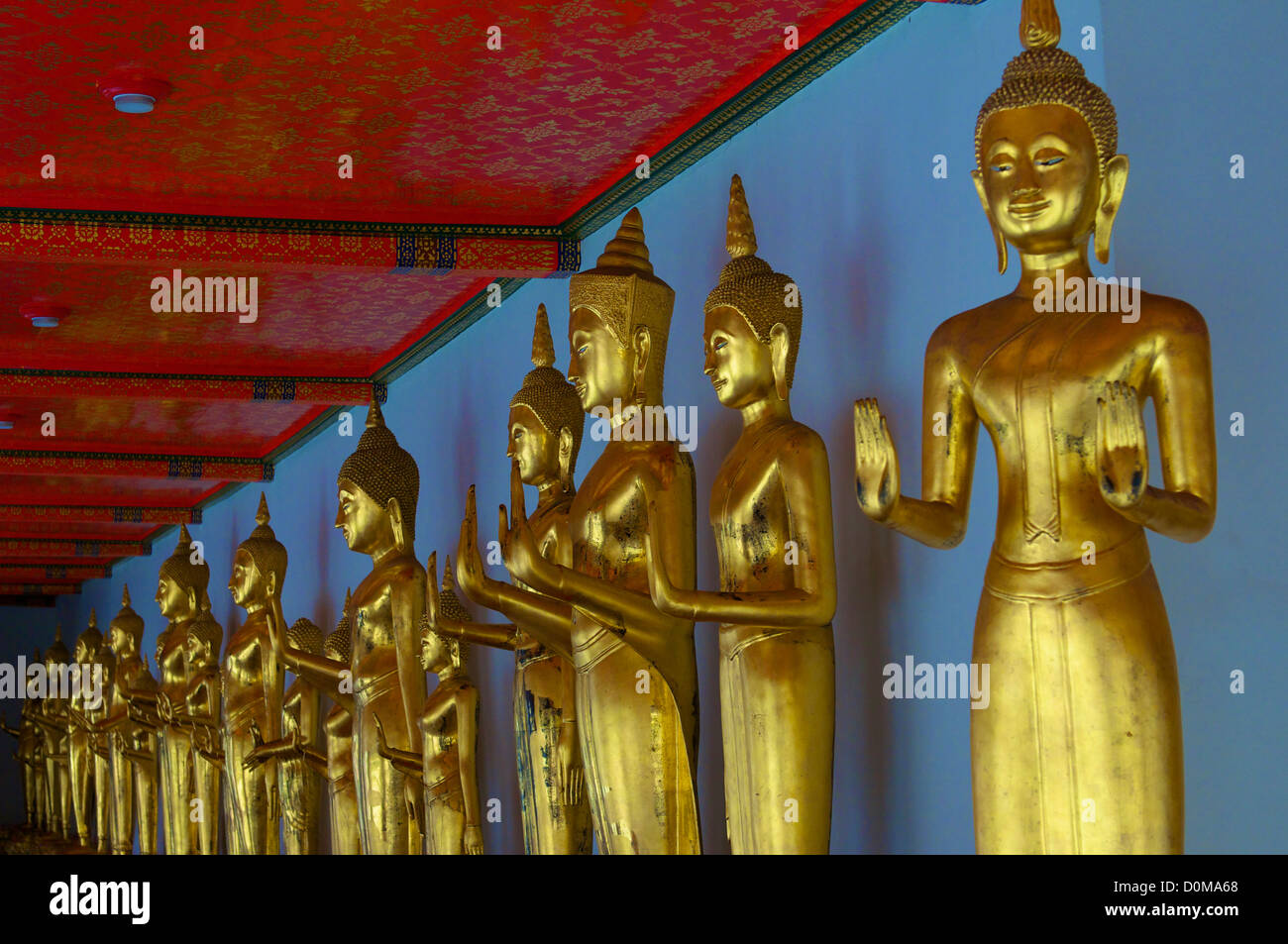 Golden hand Buddha's in the Wat Pho temple in Bangkok Stock Photo