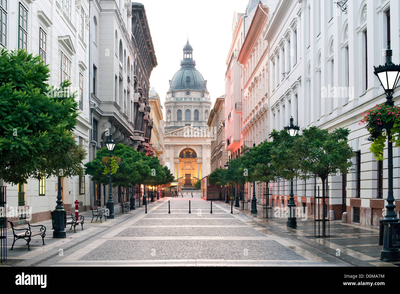 Dawn view of Saint Stephen's Basilica from Zrínyi Utca in Budapest, the capital of Hungary. Stock Photo