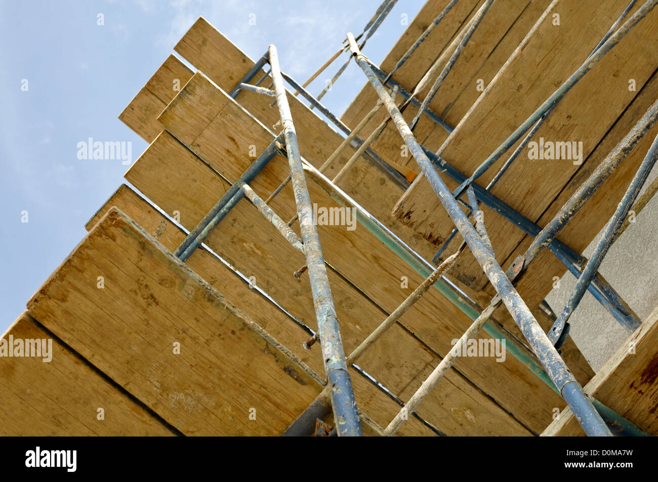 New Home Construction Scaffolding Close Up - Stock Image