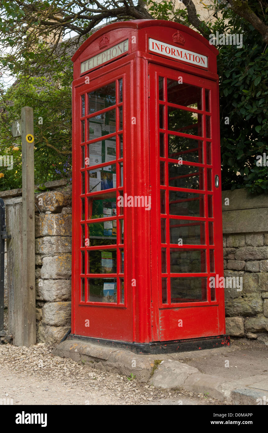 Telephone kiosk converted to information point in the Cotswold village of Stanton in the county of Gloucestershire, - Stock Image
