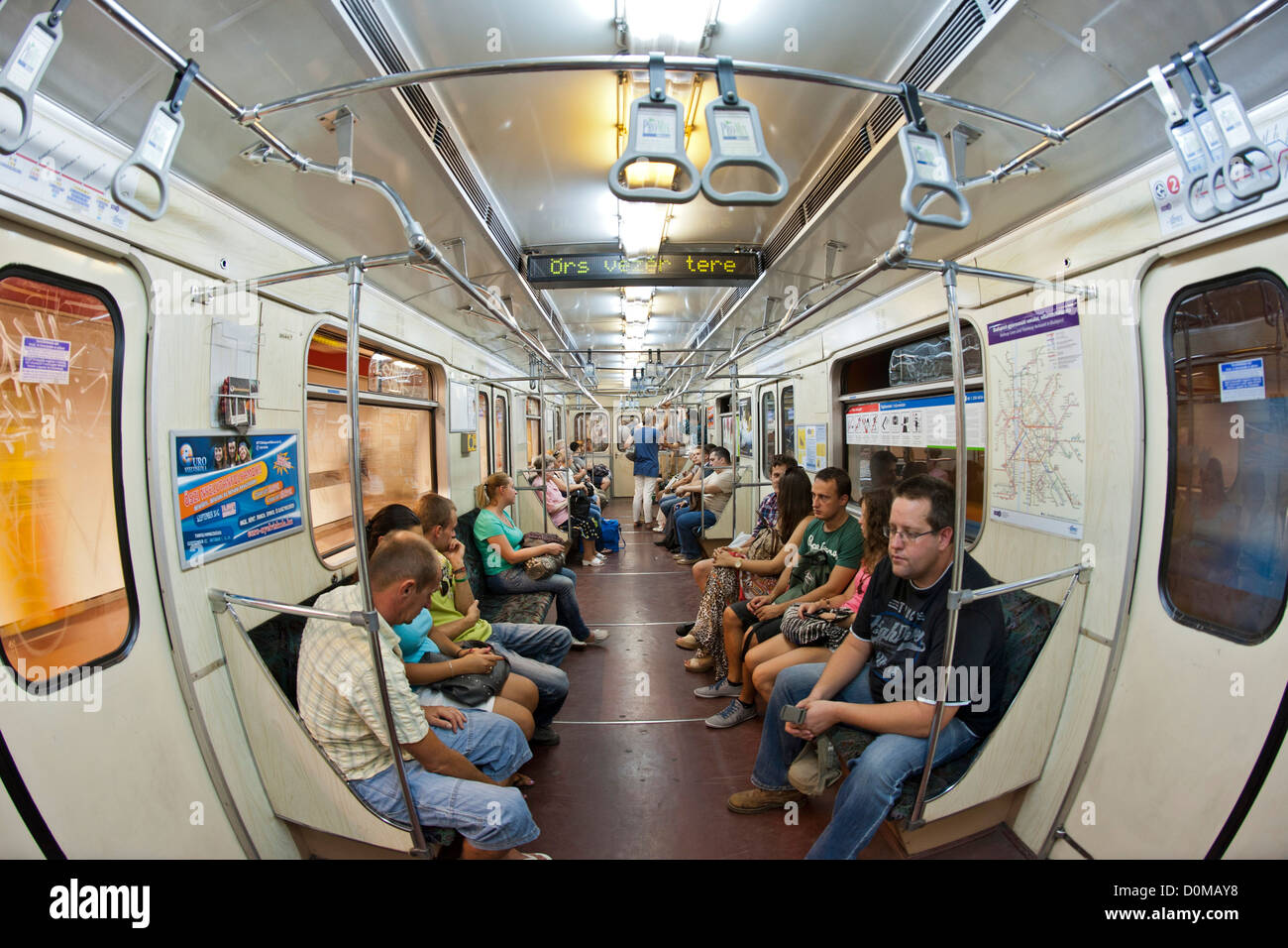 The metro in Budapest, the capital of Hungary. It is the third oldest underground system in the world. Stock Photo