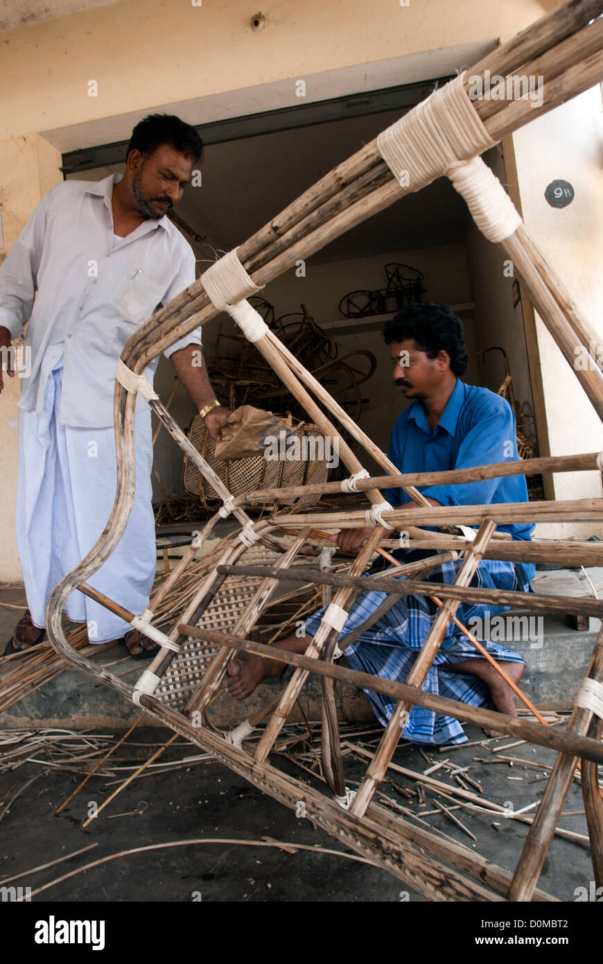 Can Furniture making at Kollidam near Chidambaram, Tamil Nadu,India. - Stock Image