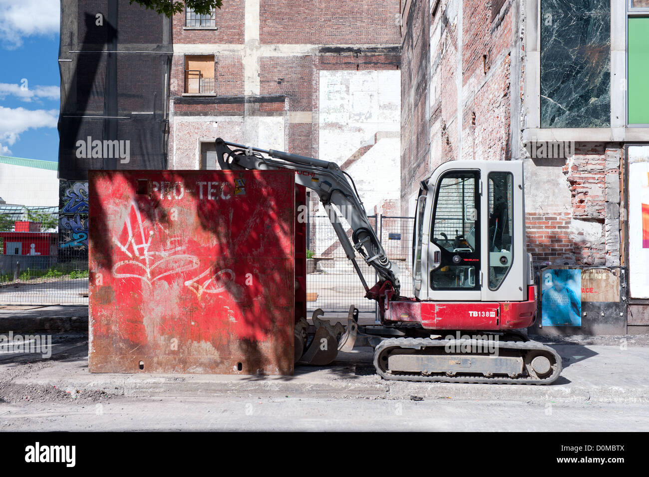 Mini Excavator Parked On A Construction Site In Downtown Montreal