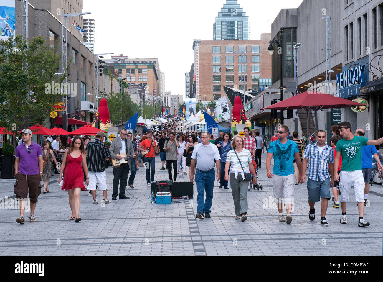 Pedestrians on a part Ste Catherine street which is closed to automobiles during summer months.Montreal, Quebec, - Stock Image