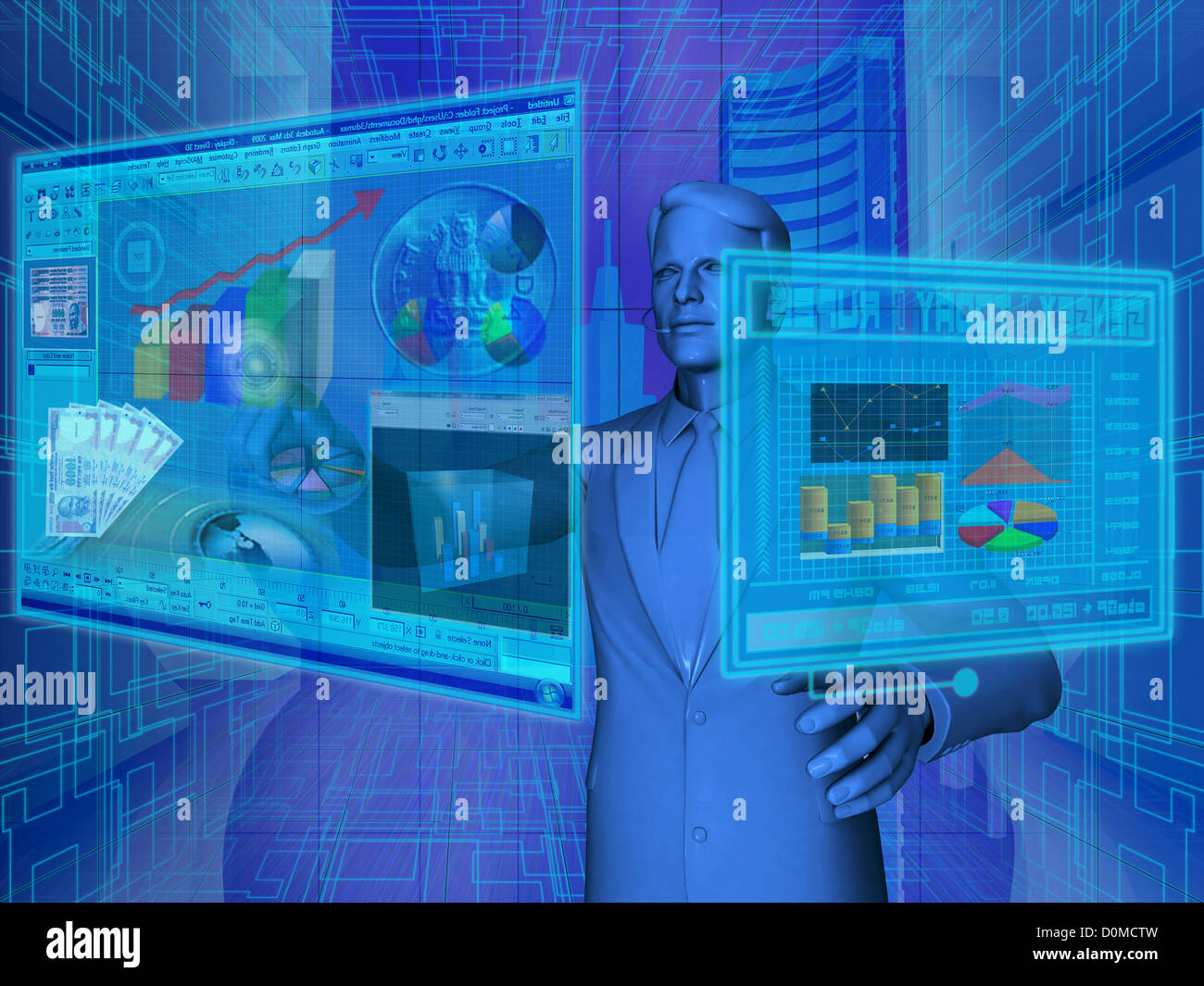 Businessman using virtual screens for financial activities - Stock Image