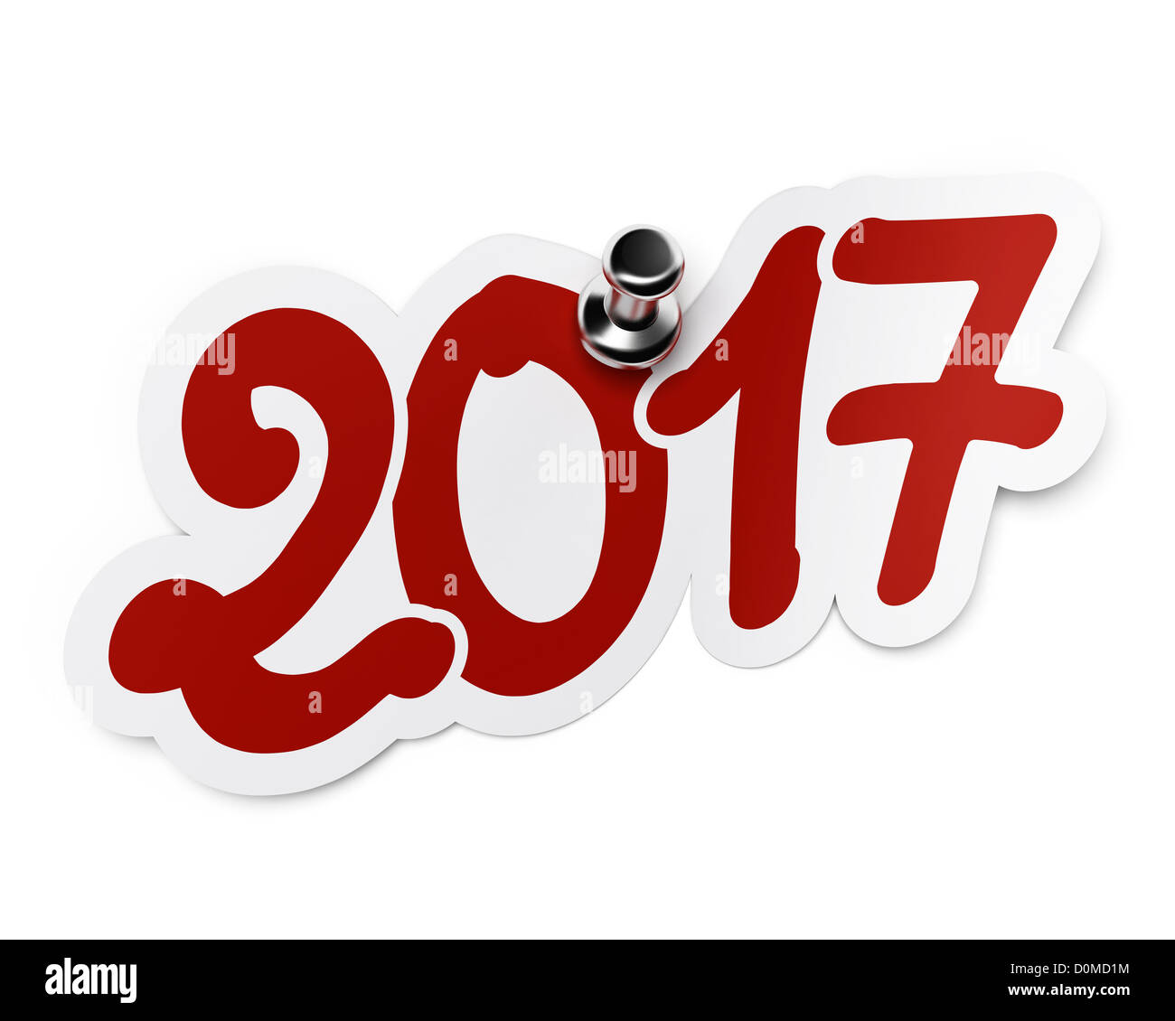2017 (two thousand seventeen) red sticker fixed onto a white background by using a thumbtack. - Stock Image