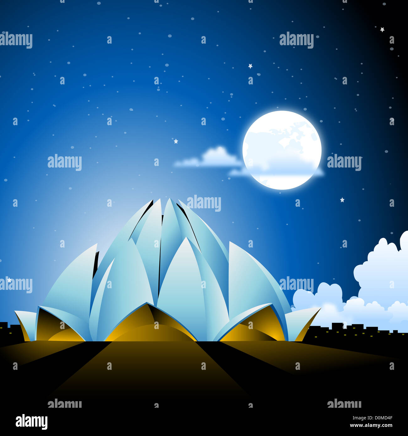 Temple lit up at night, Lotus Temple, New Delhi, India - Stock Image