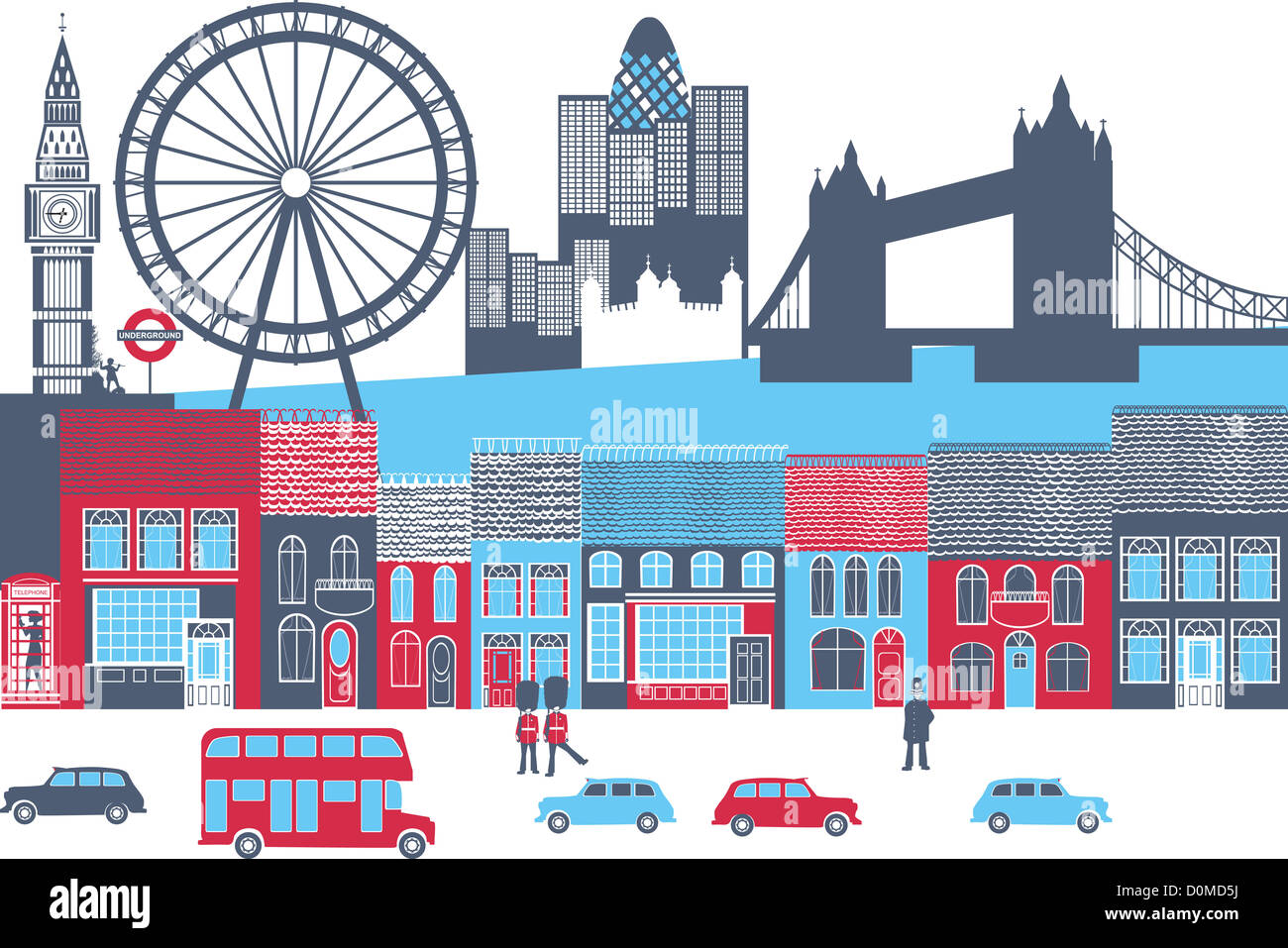 Montage of landmarks in a city, London, England - Stock Image