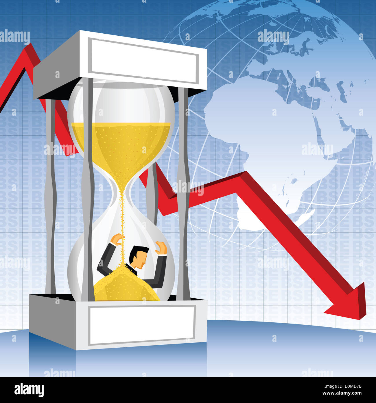 Businessman in an hourglass with downfall arrow - Stock Image