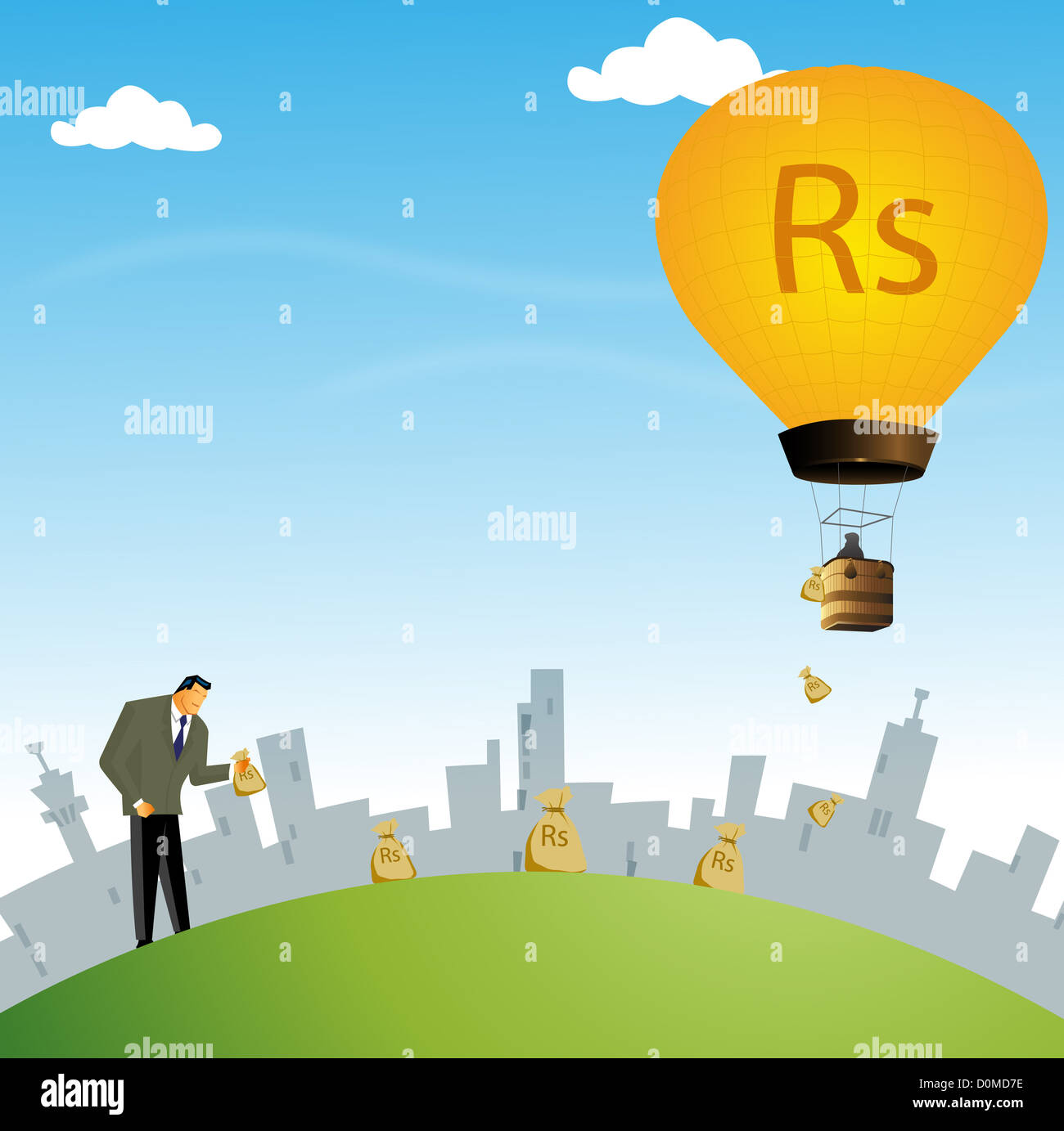 Businessman collecting sacks of rupees - Stock Image