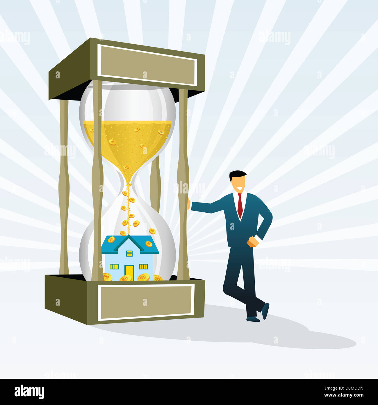 Real estate agent standing beside a giant hourglass - Stock Image