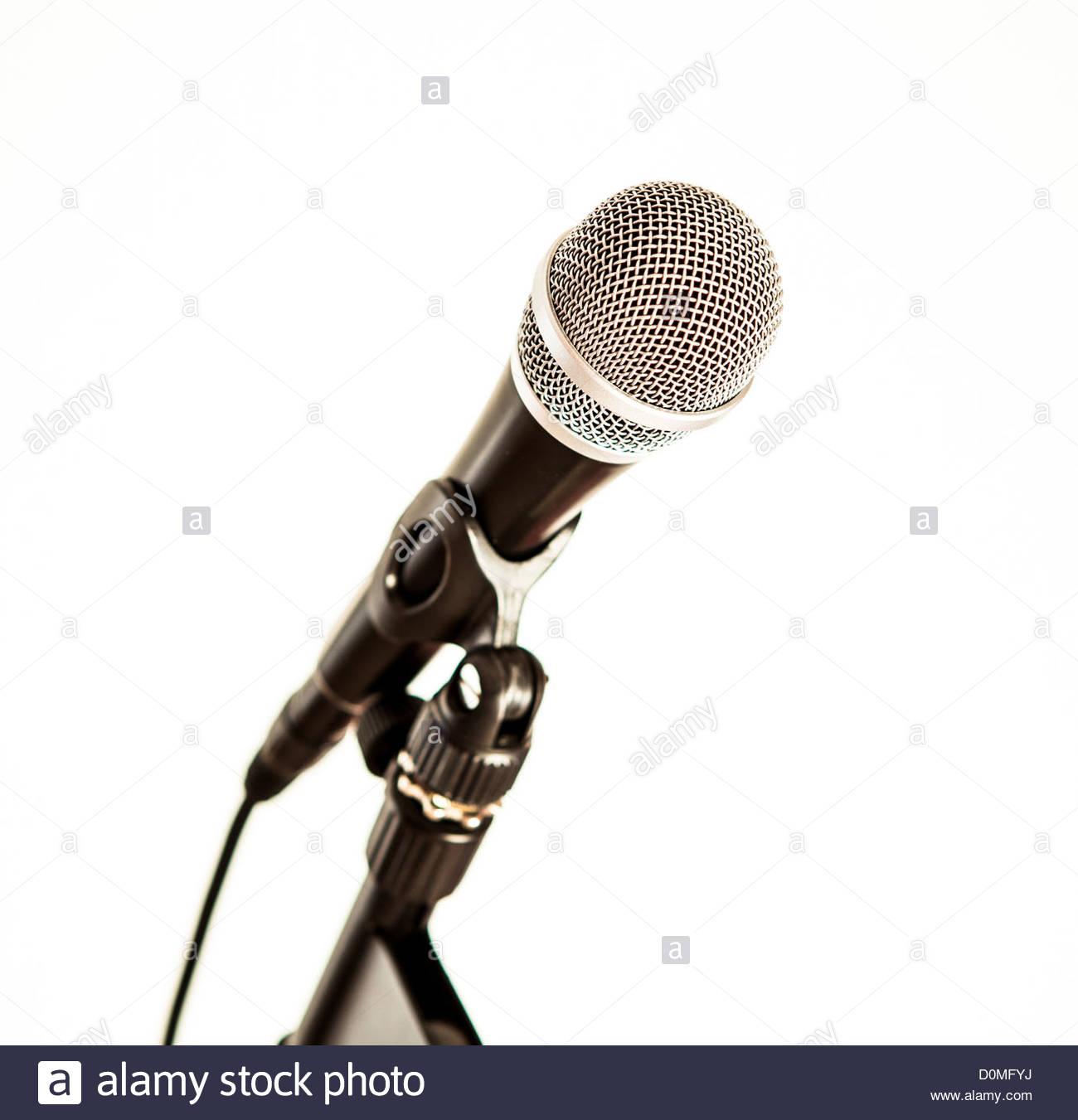 microphone white background - Stock Image