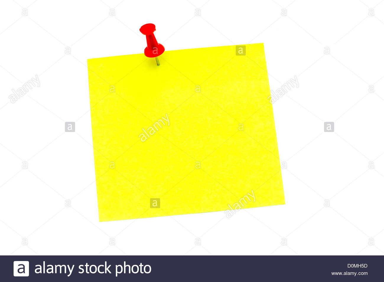 Blank yellow post it note held in place with a red push pin. - Stock Image