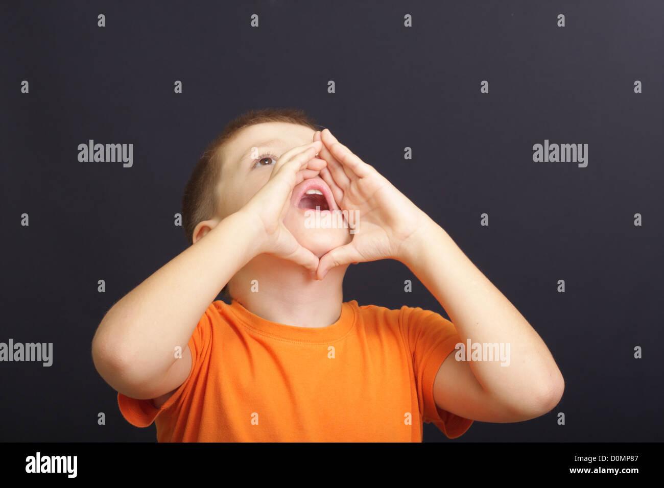 Calling aloud - Stock Image