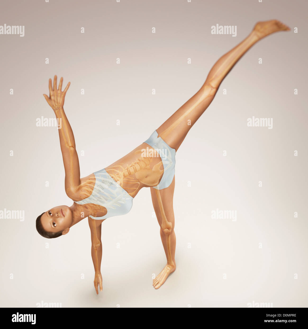 Skeleton layered over a female body in half moon pose showing the skeletal alignment of this particular yoga posture. - Stock Image