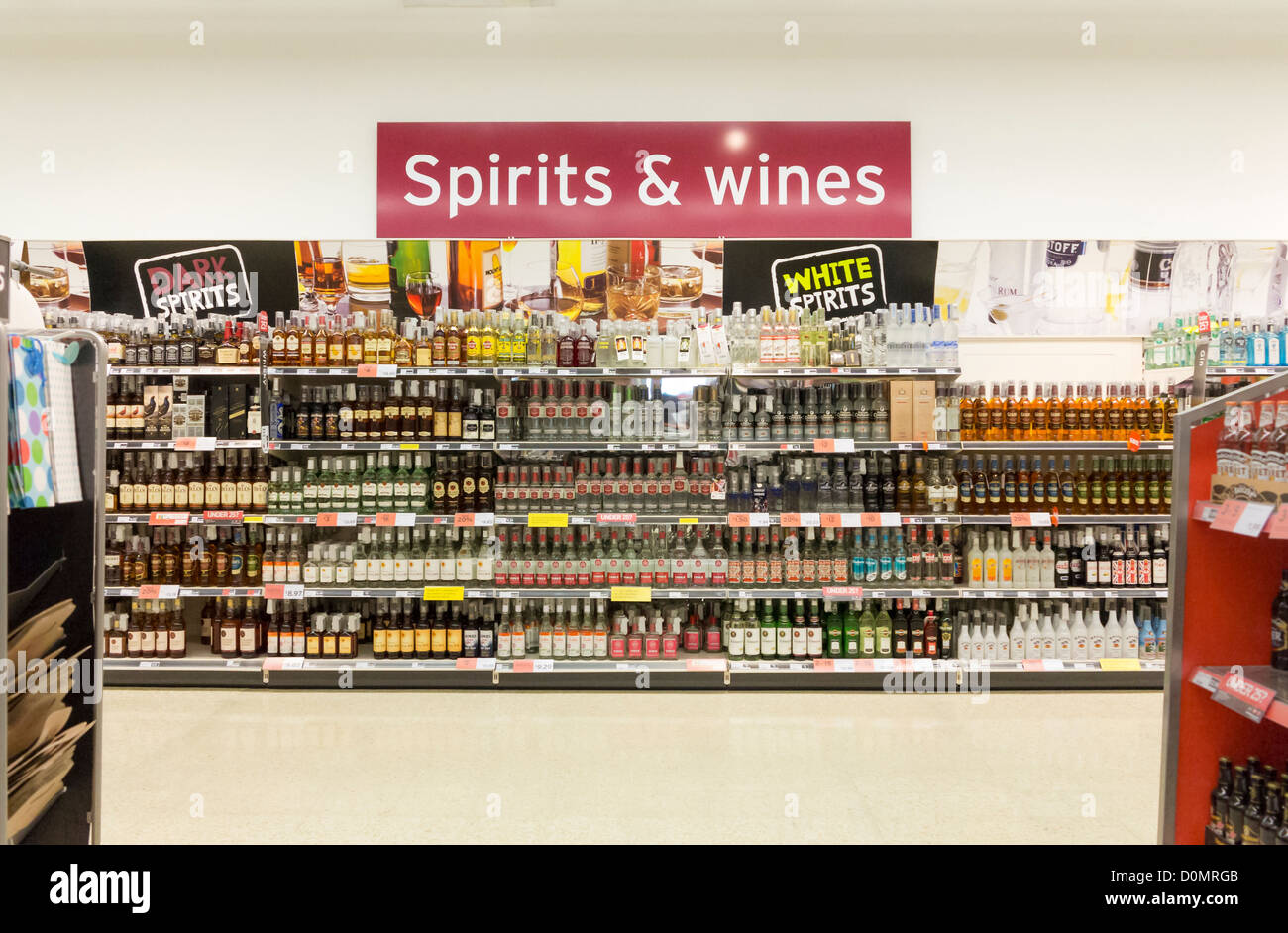 Wines and spirits display in a supermarket, UK - Stock Image