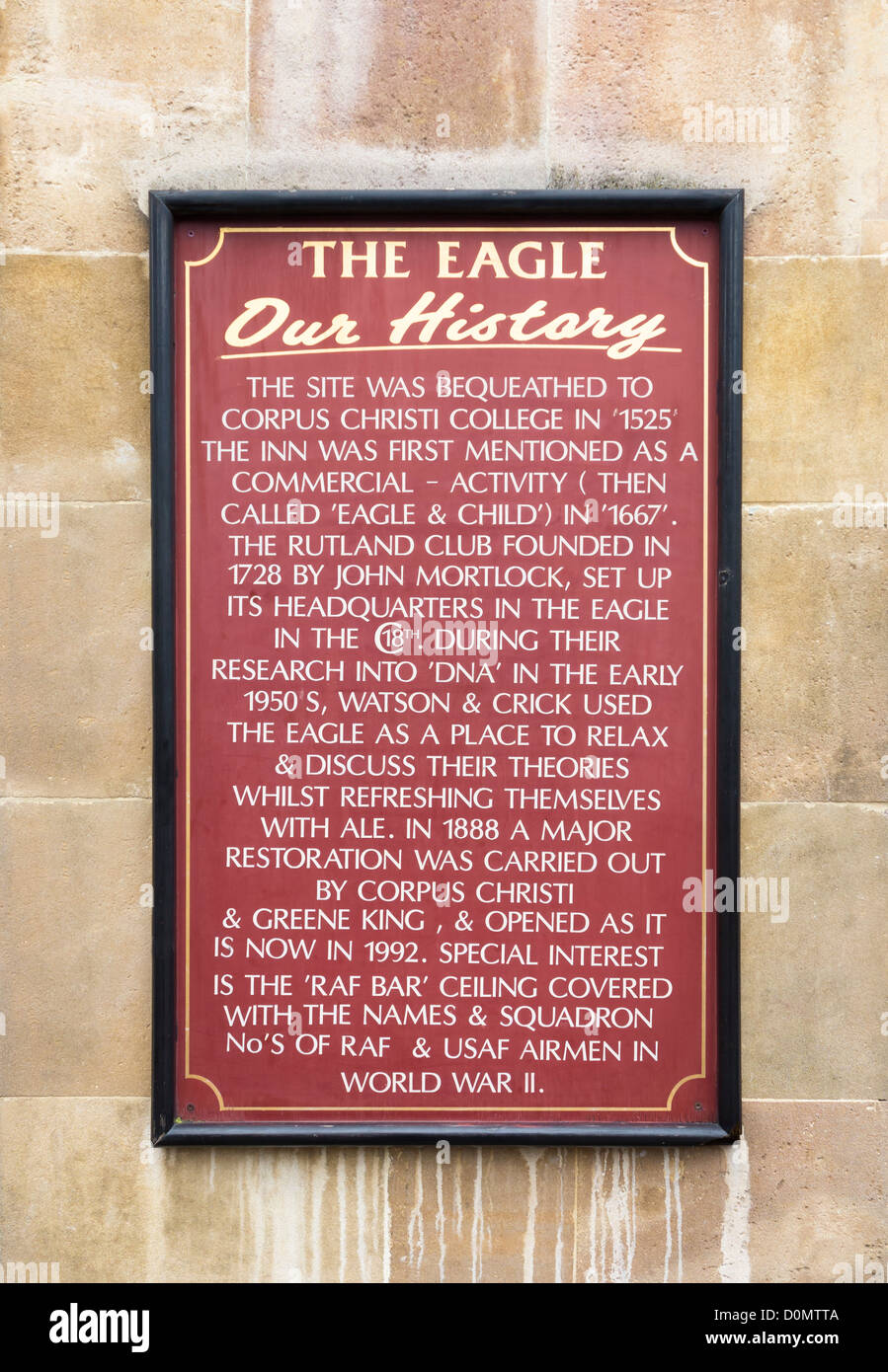 The Eagle Pub sign in Cambridge, England - Stock Image