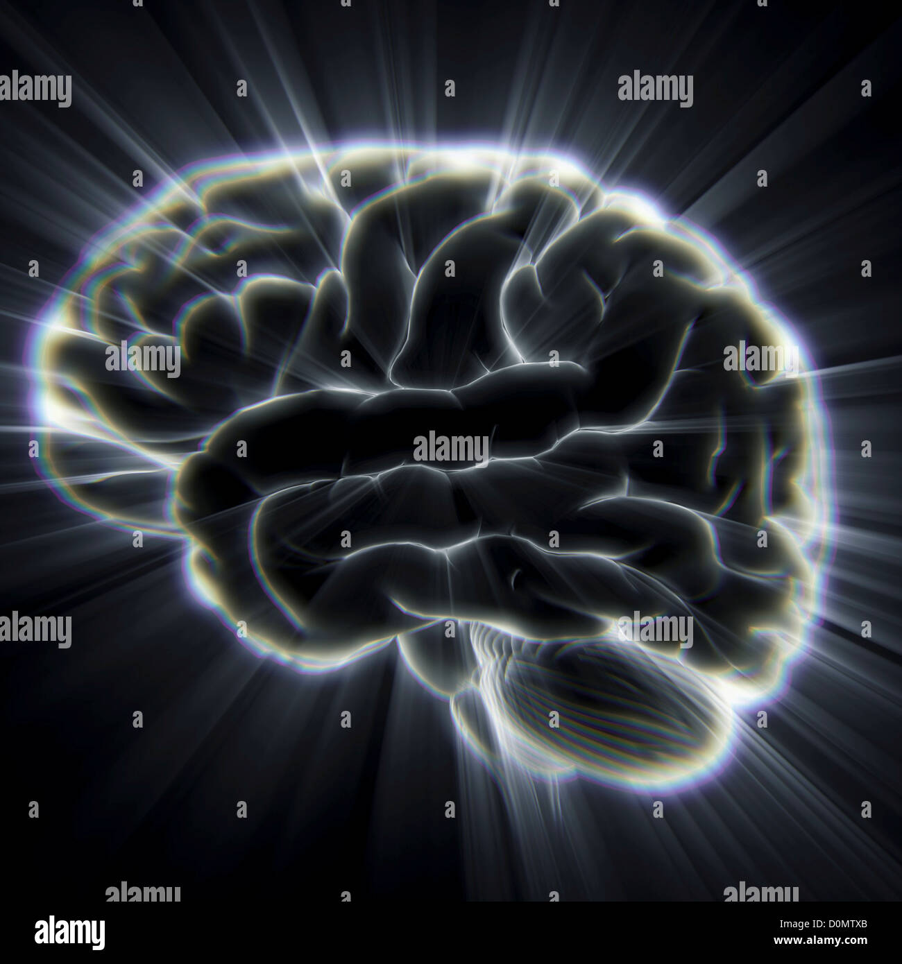 Diagram of the human brain emanating light beams. - Stock Image