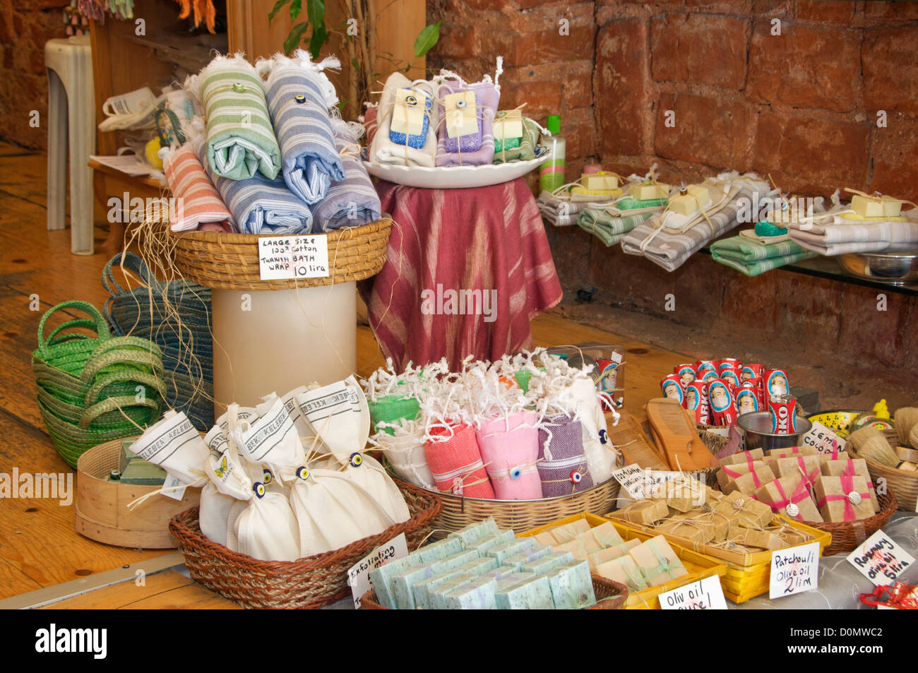 Traditional Turkish bath textile and soaps in a gift shop Istanbul Turkey - Stock Image