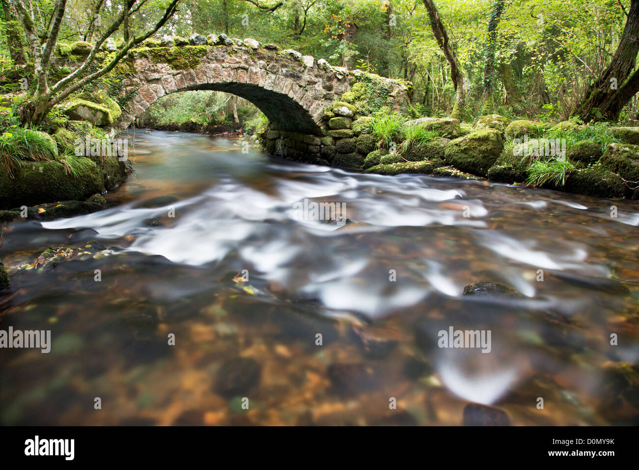 Hisley Bridge on the river Bovey in Devon - Stock Image