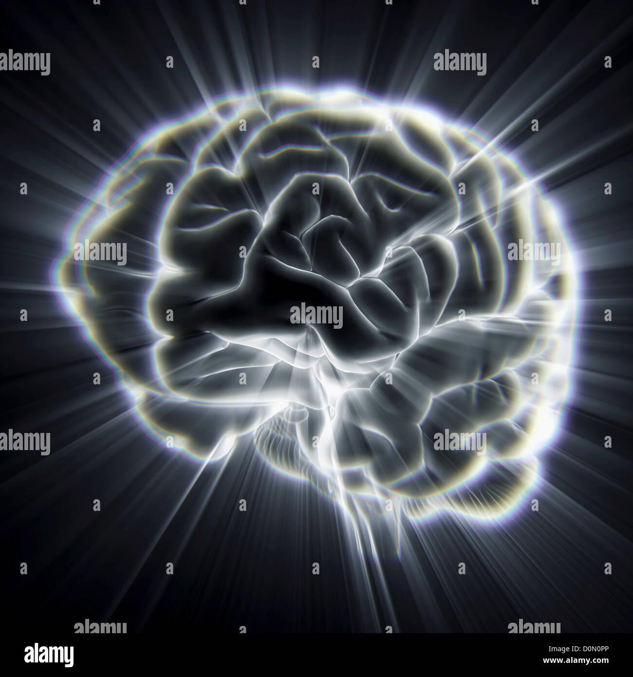 Diagram of the human brain emanating light beams. - Stock Image