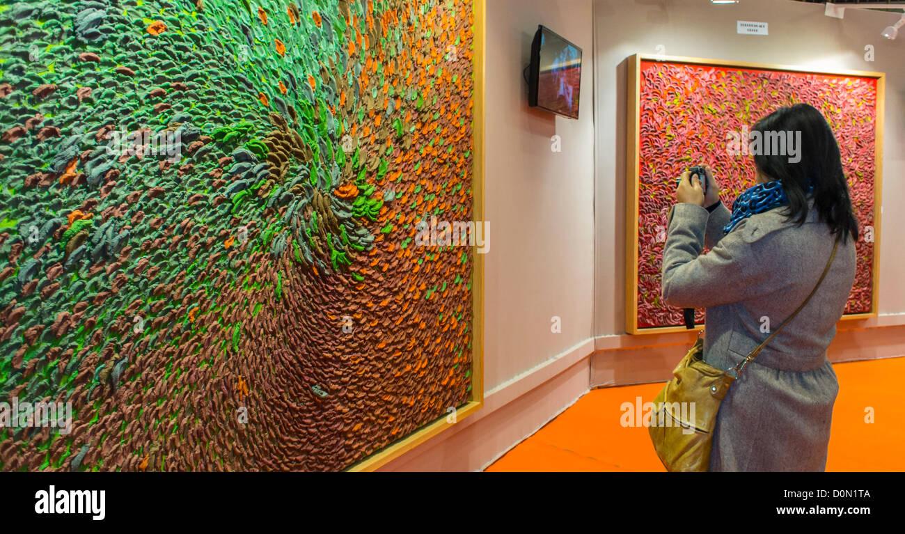Paris, France, Woman Taking Photos inside Amateur Art Show, 'Art en Capital', 'Salon des Artistes Français', - Stock Image