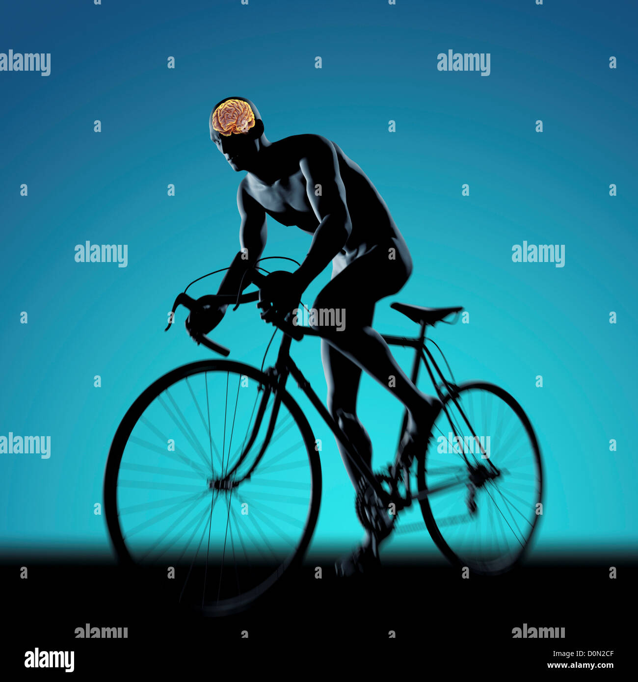 Silhouetted Male Figure Cycling A Bicycle With Internal Anatomy Of