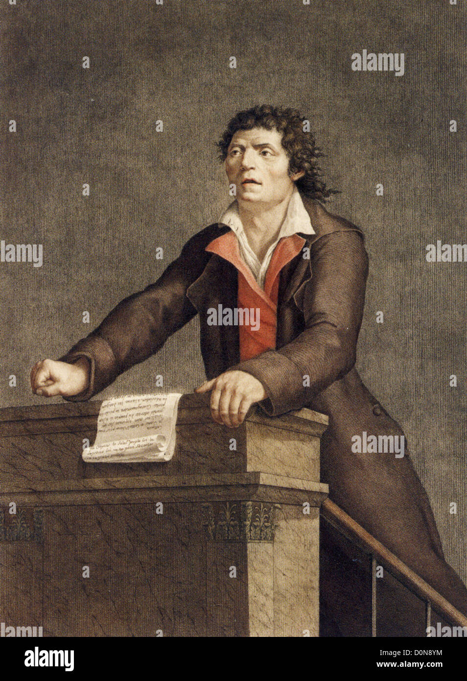 JEAN-PAUL MARAT (1743-1793) Swiss-born scientist and physician at his trial in April 1793 - Stock Image