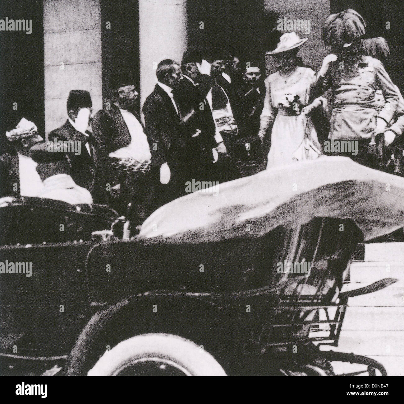 ARCHDUKE FRANZ FERDINAND and his wife Duchess Sophie leave Sarajevo town halls before their assassination on 28 - Stock Image