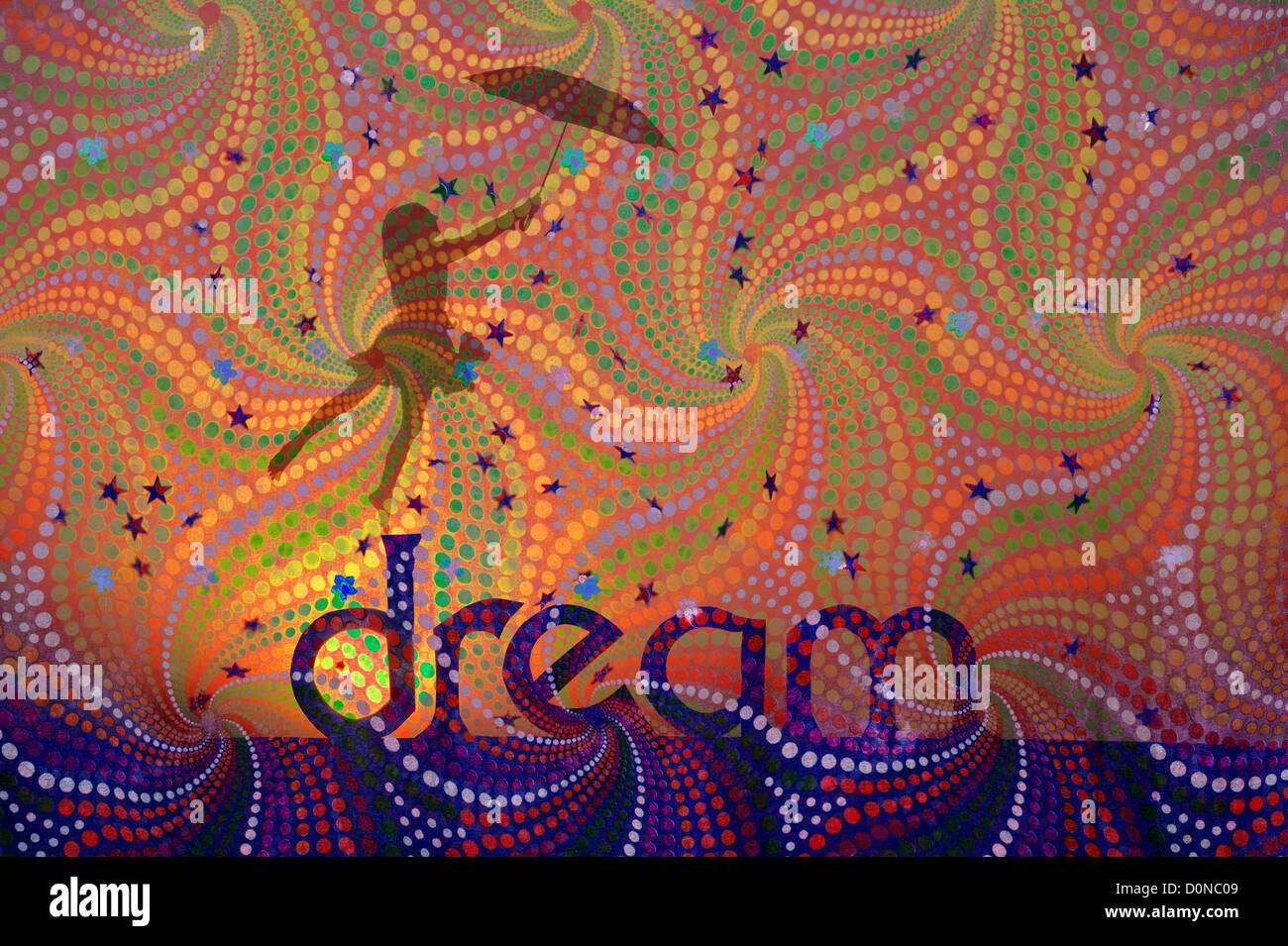 Silhouette girl with teddy bear and umbrella on DREAM word with falling stars on spiral pattern. Childhood dreams - Stock Image