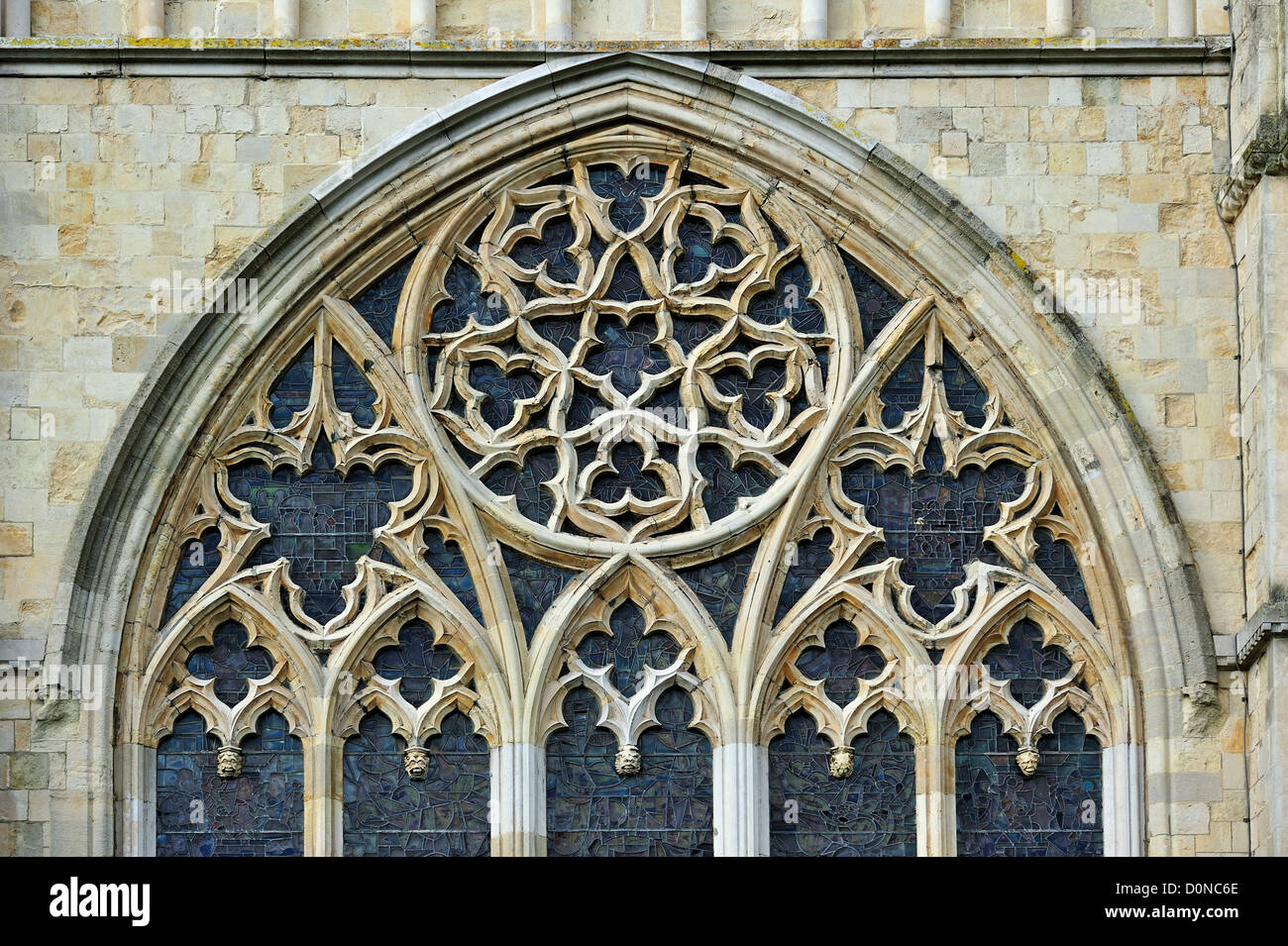 Bar Tracery In Gothic Window Of The Canterbury Cathedral Medieval City Kent