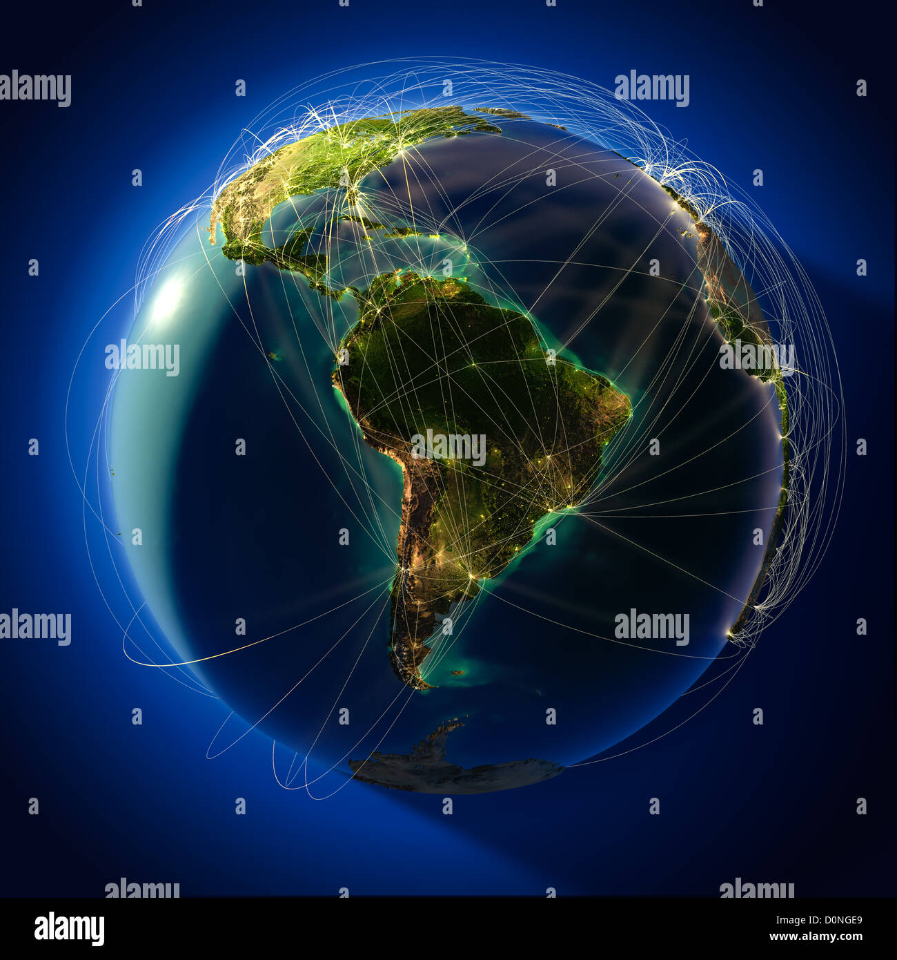 Brazil map globe stock photos brazil map globe stock images alamy major global aviation routes on the globe stock image gumiabroncs Image collections