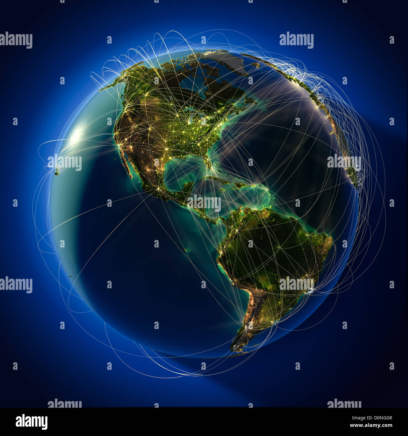 Major global aviation routes on the globe - Stock Image
