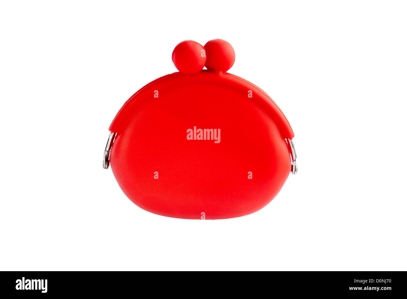 red silicone coin purse isolated over white - Stock Image