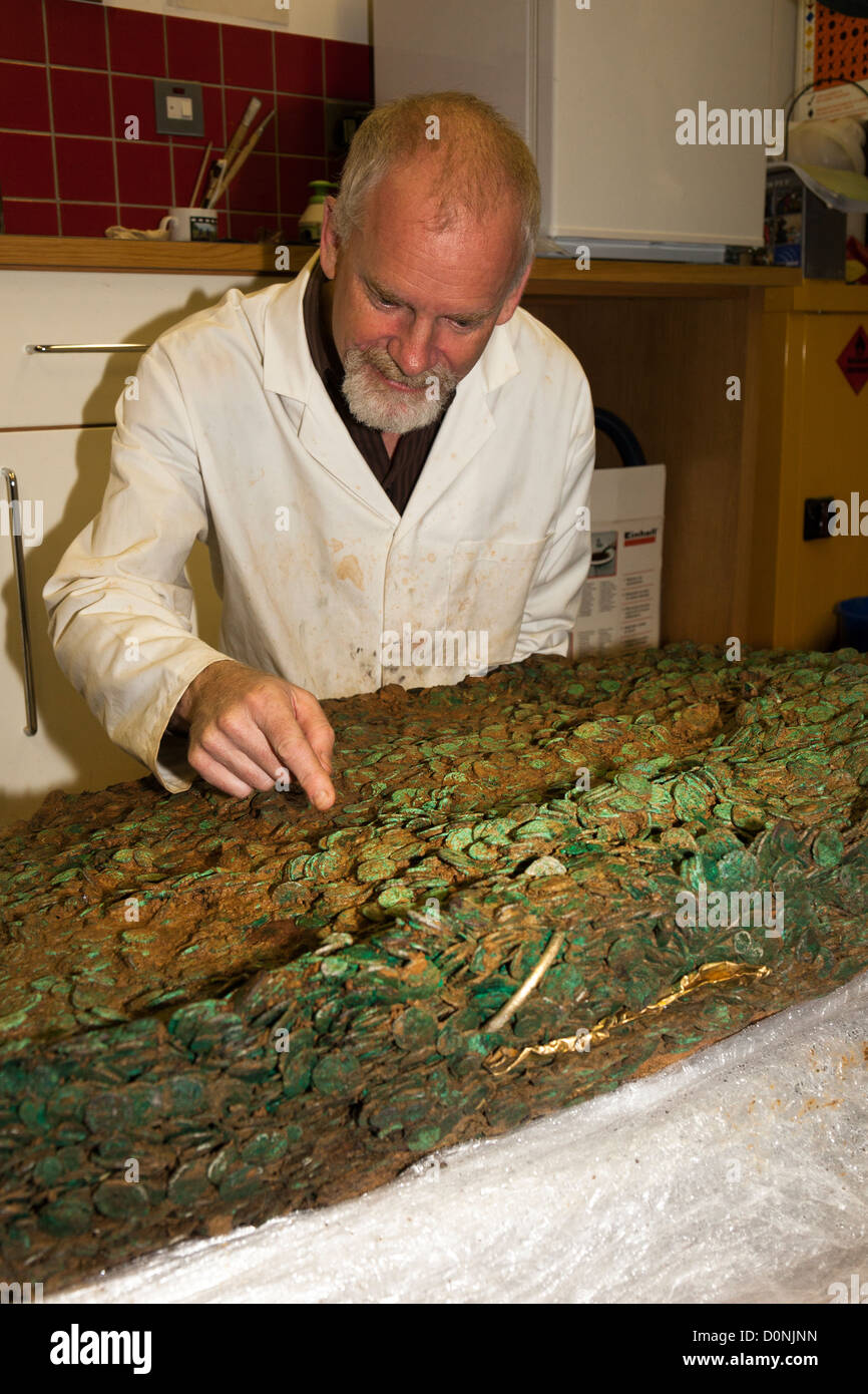 Neil Mahrer with the Jersey Celtic coin hoard left by a Coriosolite tribe circa 50 BC, Jersey, Channel Islands, - Stock Image