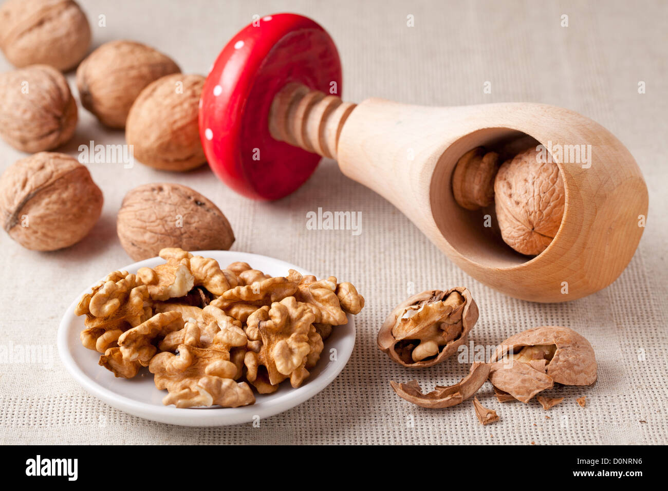 Cores of matured nuts in plate, brown Circassian walnuts, nutshell and wooden handmade nutcracker like fungus amanita - Stock Image