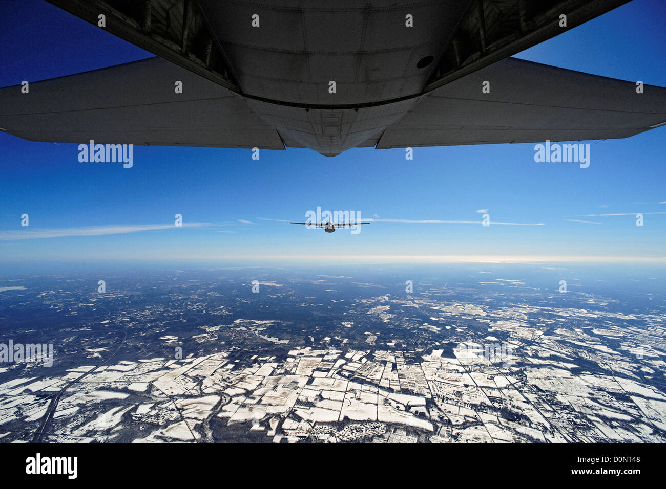 An EC-130J Commando Solo 193rd Special Operations Squadron flown Air Force Special Operations Training Center students - Stock Image