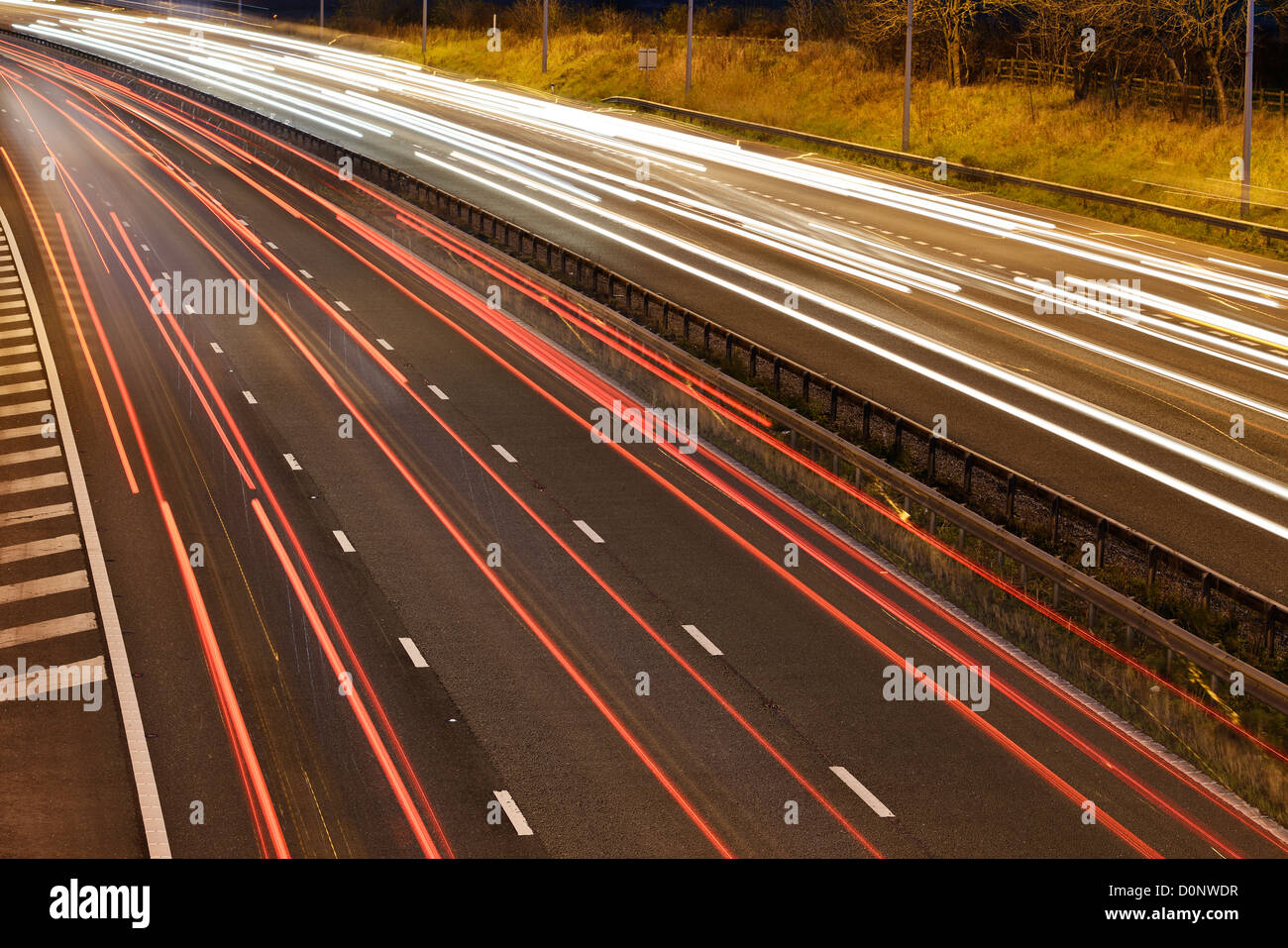 Night traffic on a UK motorway - Stock Image