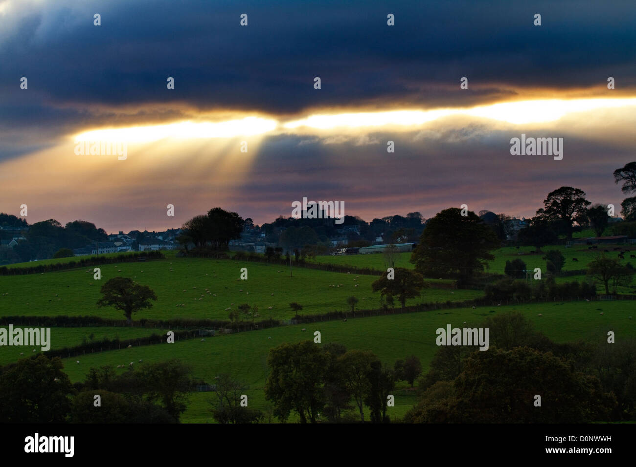 The Launceston skyline across the Tamar Vally - Stock Image