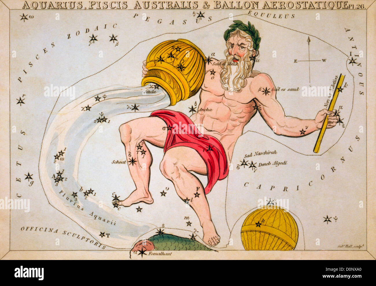 Constellation Card of Aquarius and Others - Stock Image