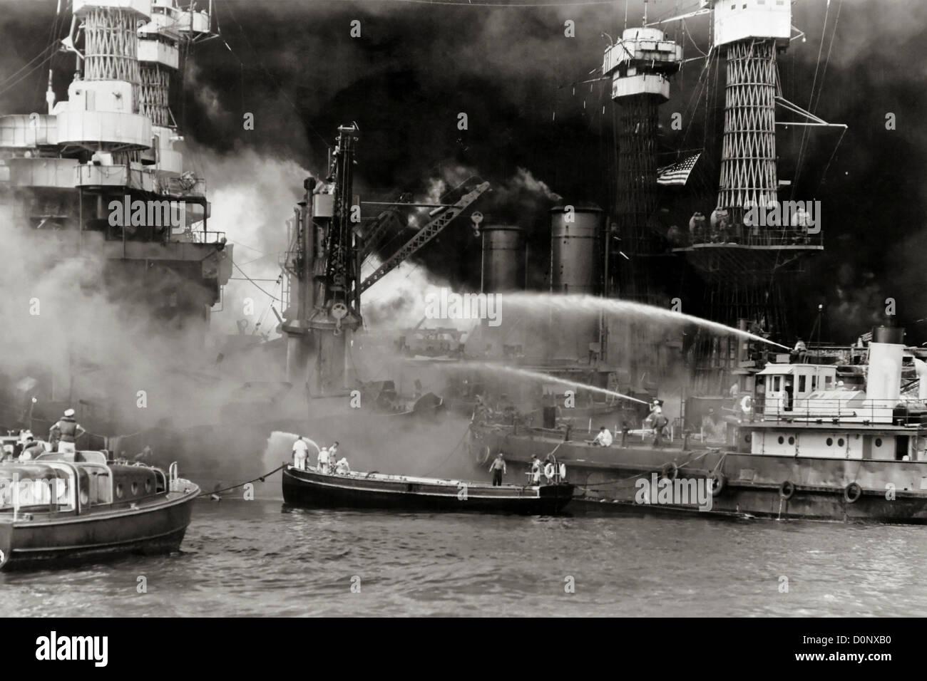 USS West Virginia Burning in Pearl Harbor Stock Photo