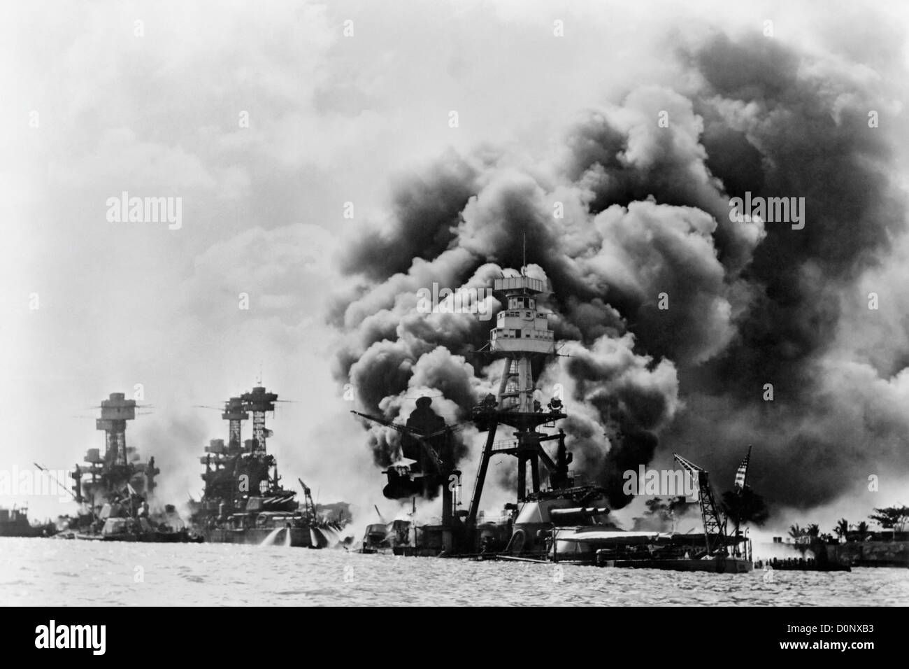 Three Battleships After Pearl Harbor Bombing Stock Photo