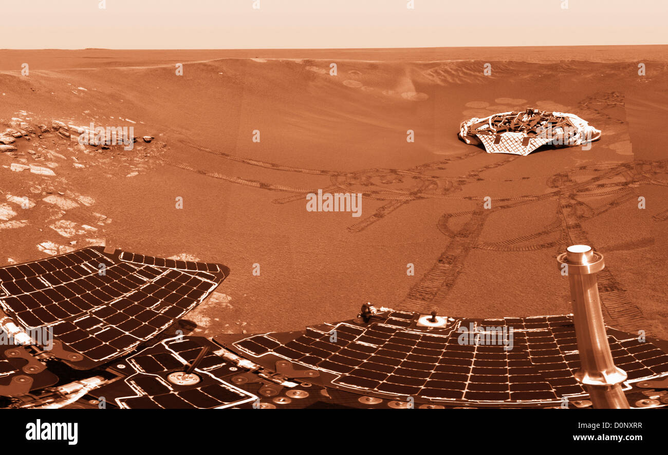 Mars Exploration Rover Opportunity's Solar Panels and Landing Platform, Mars - Stock Image
