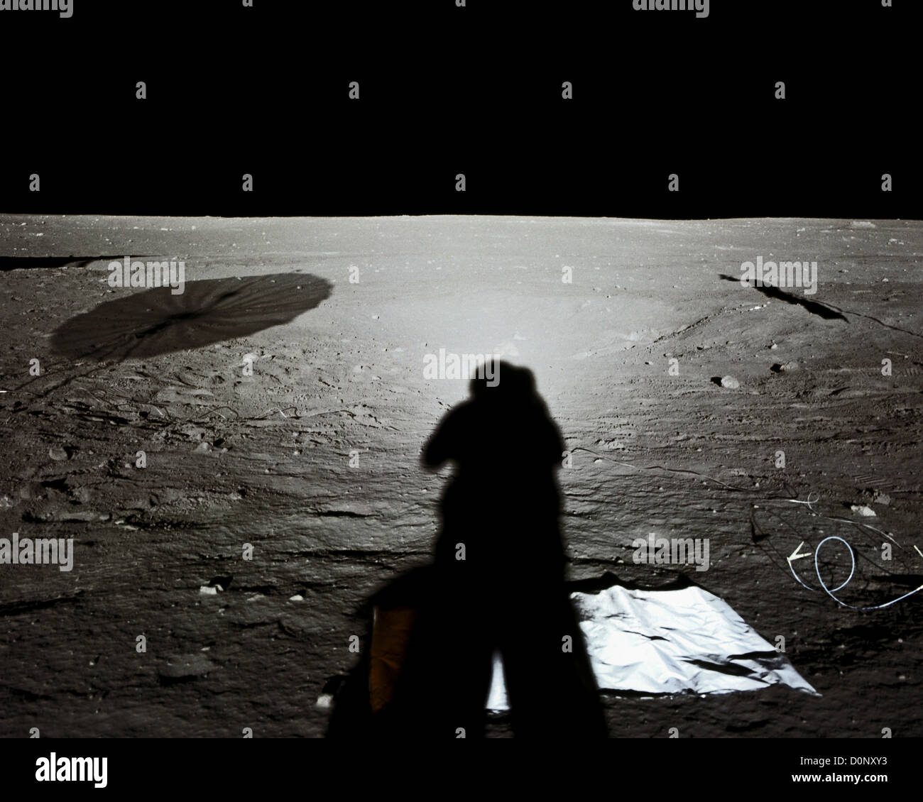 Apollo 12 - Halo and Shadow on the Barren Surface of the Moon - Stock Image
