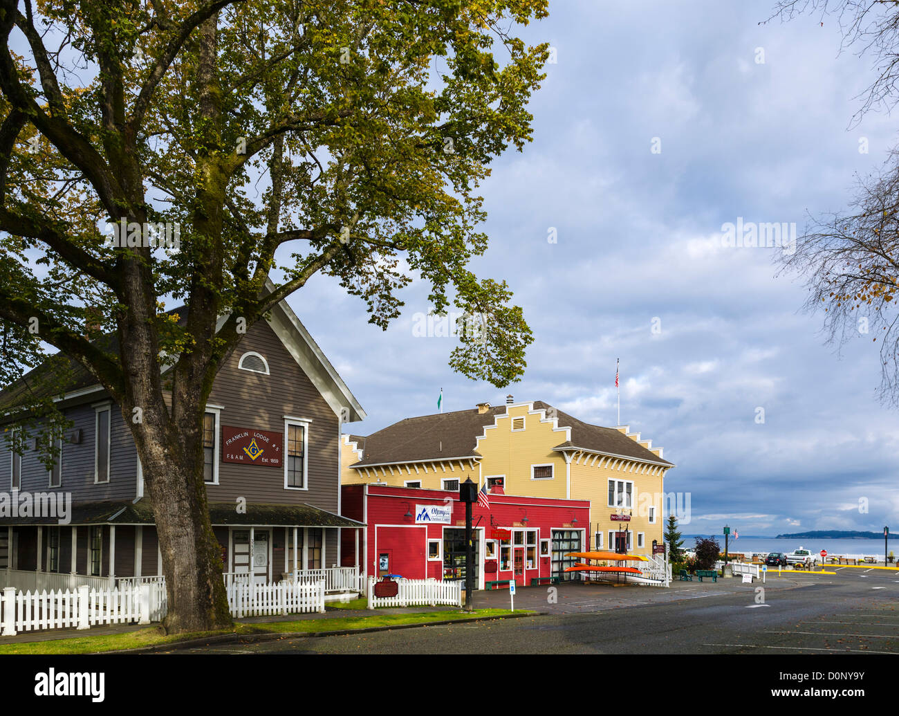NE Rainier Avenue (old Main Street), Port Gamble, Olympic Peninsula, Washington, USA - Stock Image