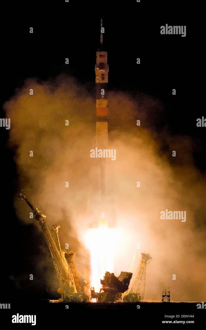 Night Launch at Baikonur Cosmodrome - Stock Image