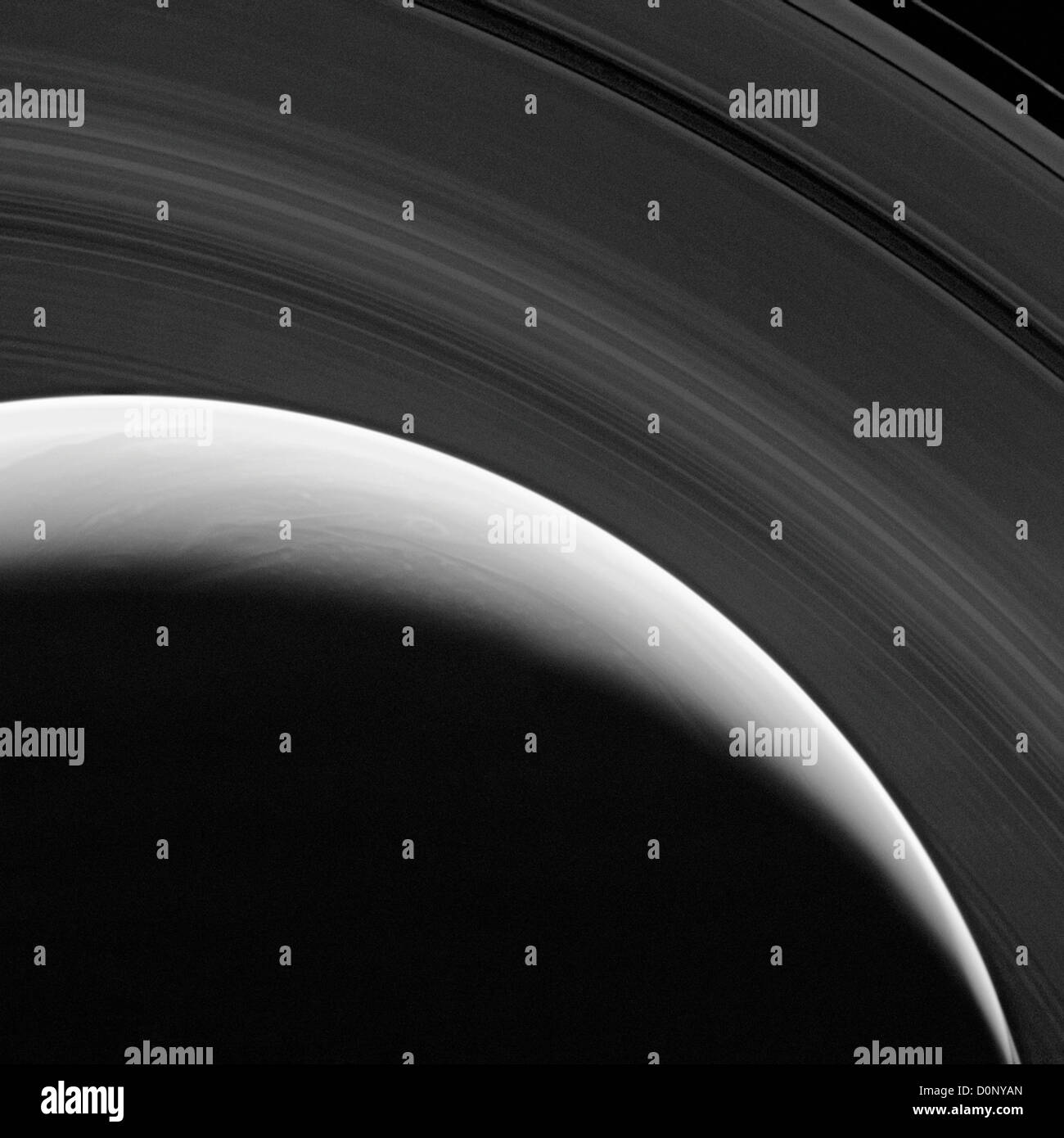 Saturn's North Pole and Rings - Stock Image