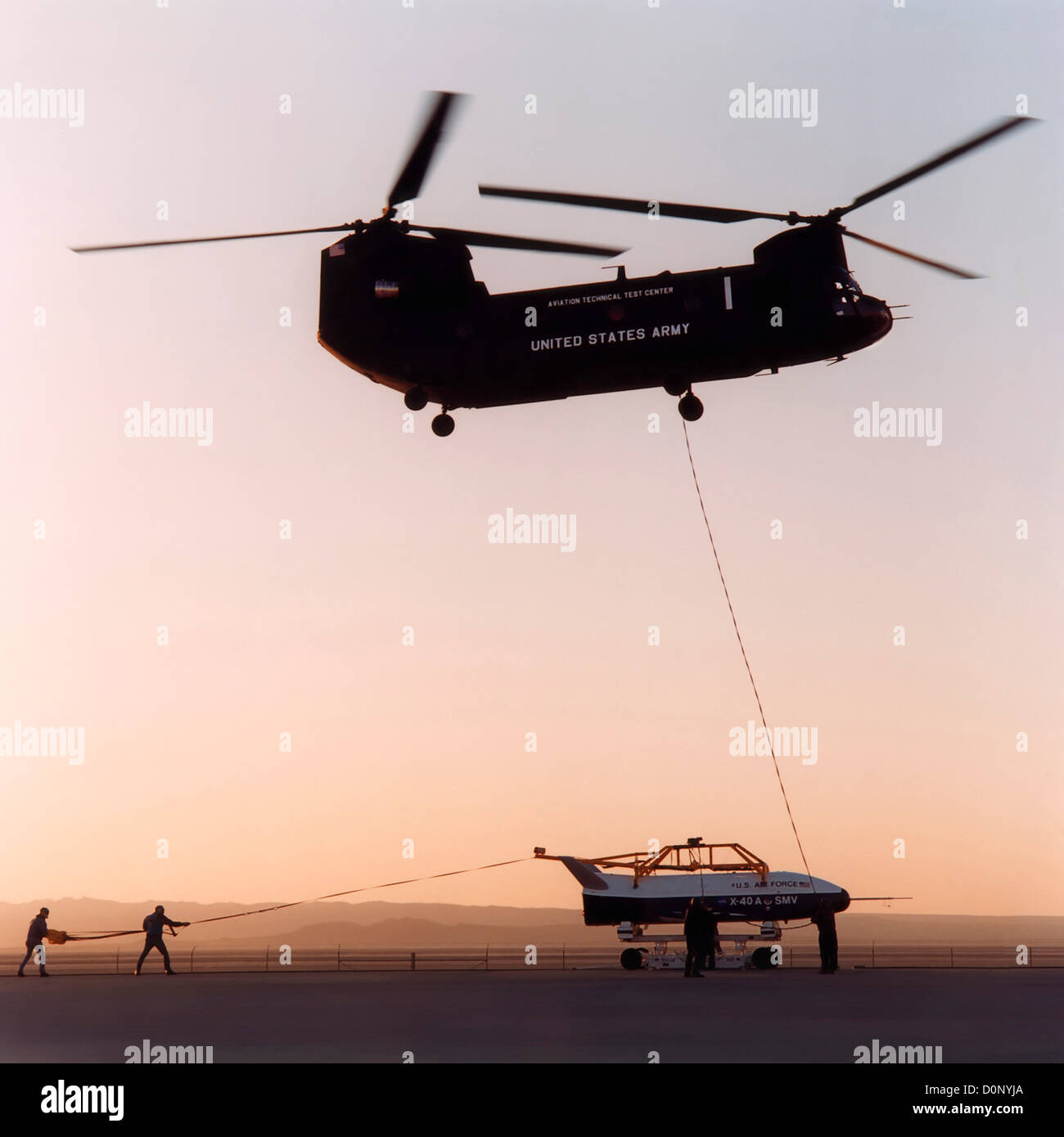 Chinook Helicopter and X-40 - Stock Image