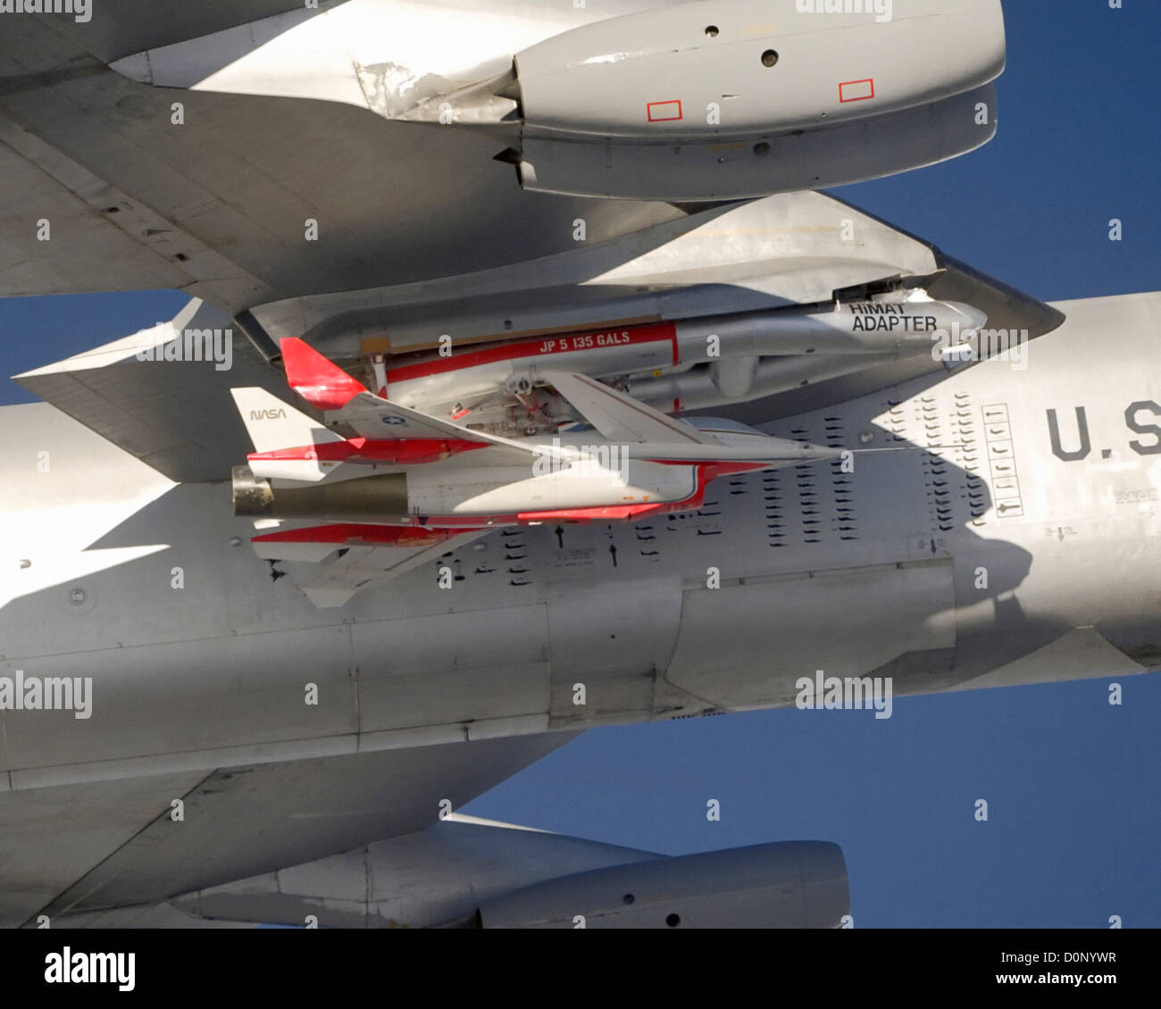 HiMAT Attached to B-52 - Stock Image