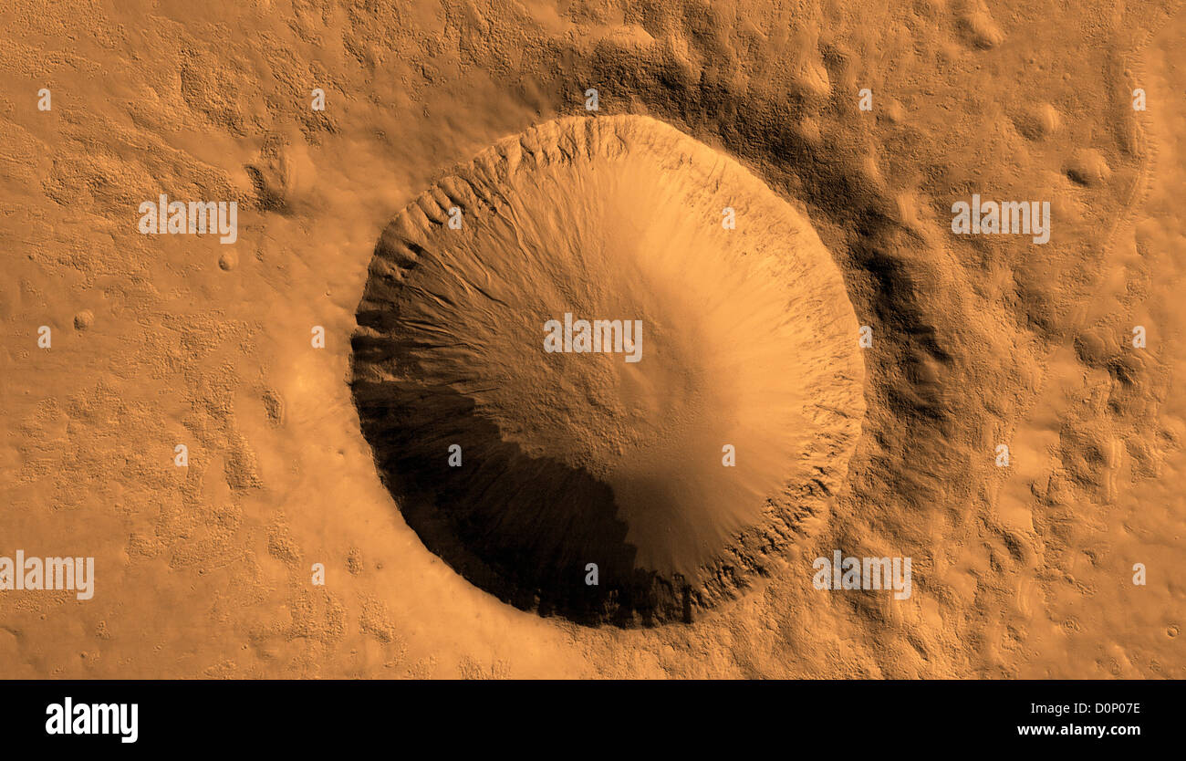 Crater in Southern Highlands  Seen by Mars Reconnaissance Orbiter - Stock Image